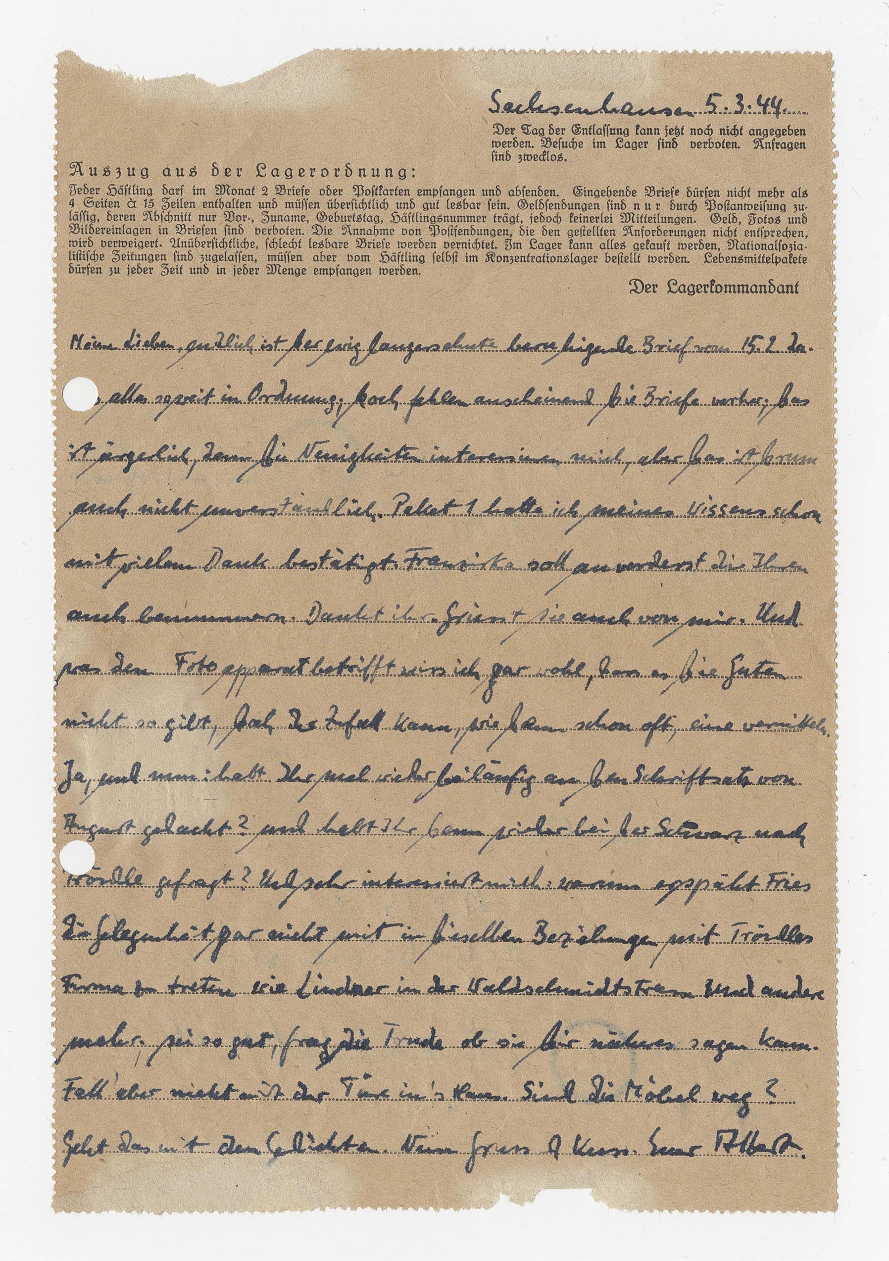 Len Frankfurt letter from christel albert to christel family in frankfurt