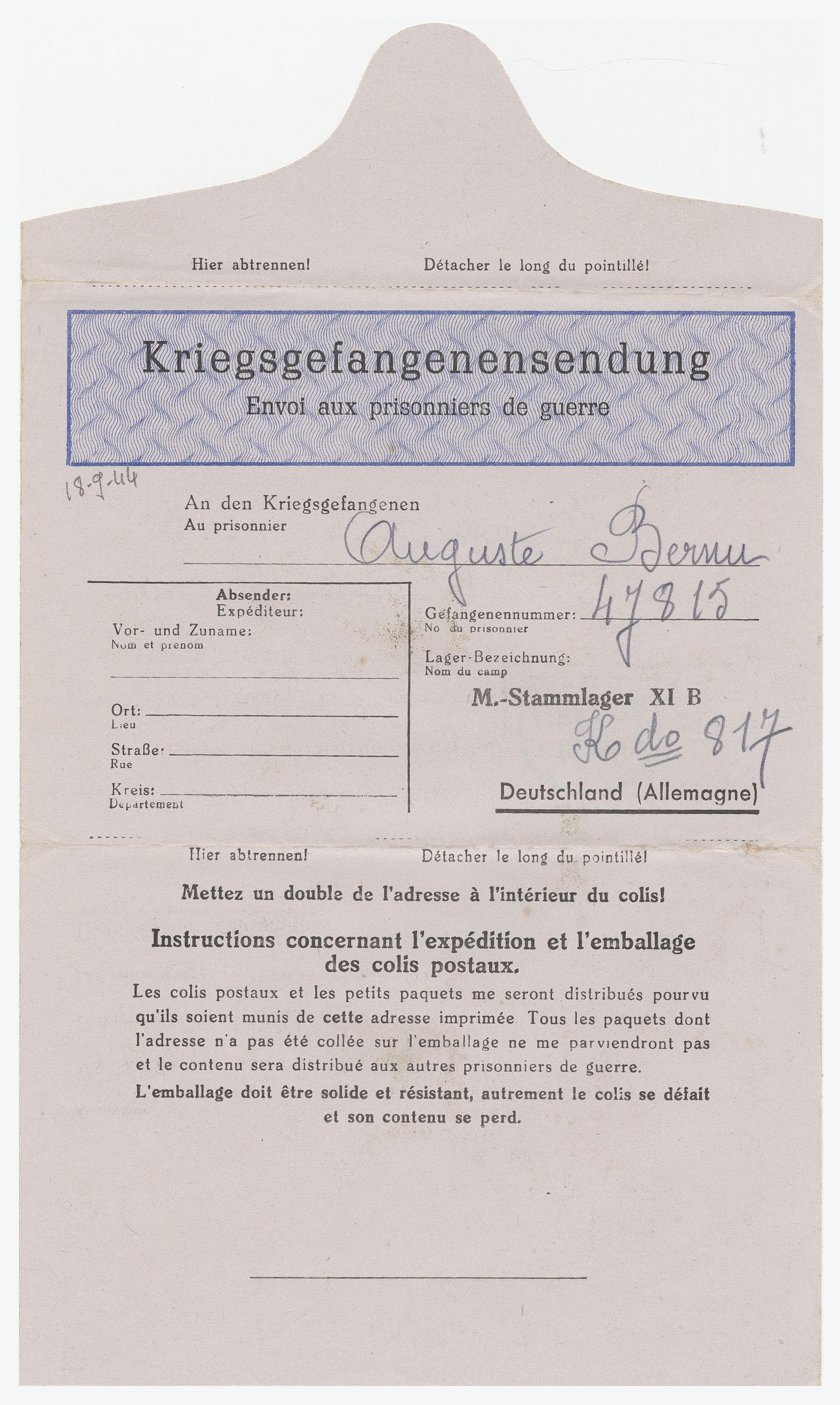 lettercard, from: bernu, auguste to: madame bernu