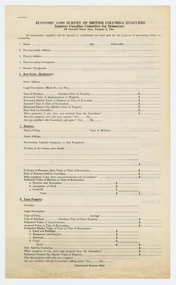 Japanese Canadian Committee for Democracy, Survey form, [194 ...