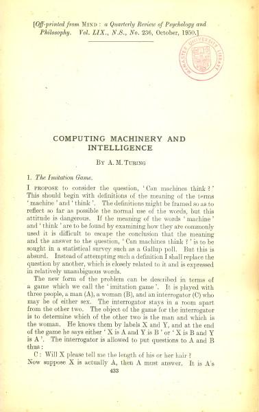"Alan Turing's ""Computing Machinery and Intelligence"""